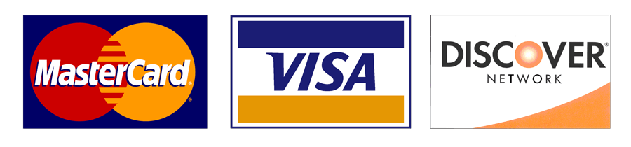Visa, Mastercard, cash, and checks.
